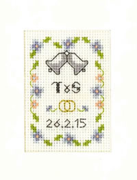 Mini Blue Wedding Day card cross stitch kit