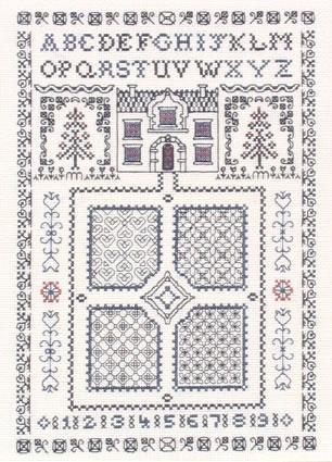 Blackwork Garden sampler cross stitch