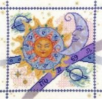 cross stitch sun, moon and stars sampler kit