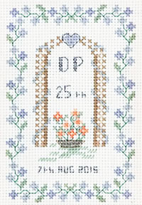 petite 25th Anniversary sampler cross stitch kit