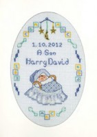 Blue New Arrival card cross stitch