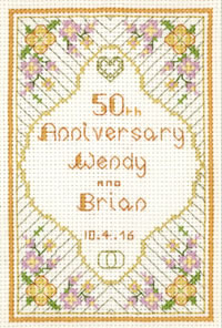 Glitzy Golden Anniversary Sampler cross stitch kit