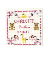 Pink New Baby card cross stitch