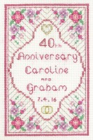 Glitzy Ruby Anniversary Sampler cross stitch kit