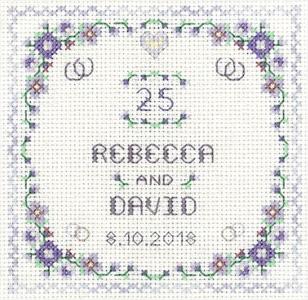 Heart silver Anniversary sampler cross stitch kit