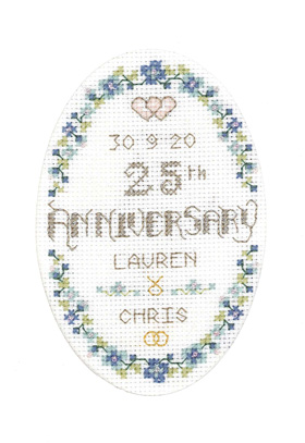 Floral 25th Anniversary card cross stitch kit