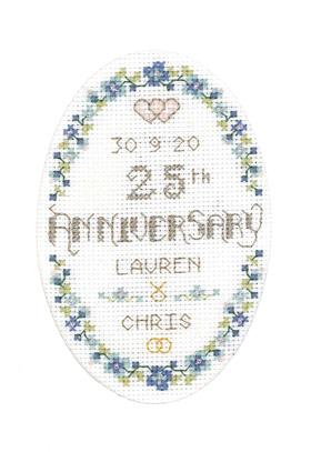 Floral 25th Anniversary card cross stitch kit