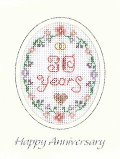 mini 30th Anniversary card cross stitch card
