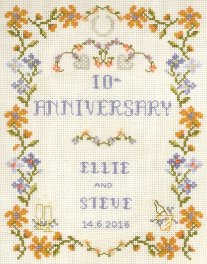Amber Wedding Anniversary cross stitch