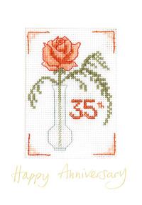 Rose Coral Anniversary card cross stitch