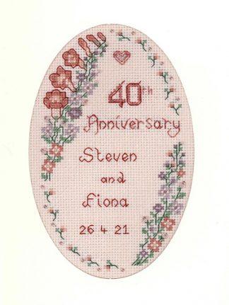 Garland Ruby Anniversary card cross stitch