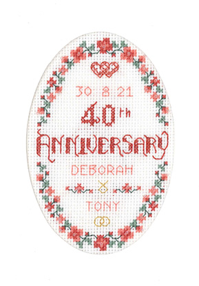 Floral 40th Anniversary Card cross stitch kit