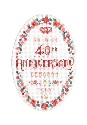 Floral 40th Anniversary Card cross stitch kit