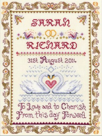 Swans Wedding Sampler cross stitch