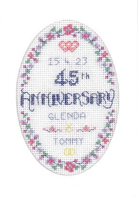 Floral 45th Anniversary Card cross stitch