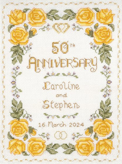 Rose 50th Anniversary Sampler cross stitch kit