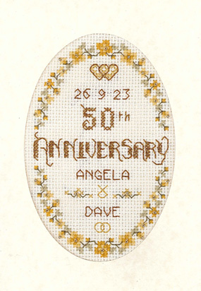Floral 50th Anniversary card cross stitch kit