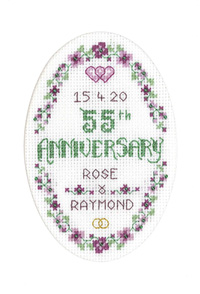 Floral 55th Anniversary Card cross stitch