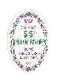 Floral 55th Anniversary Card cross stitch