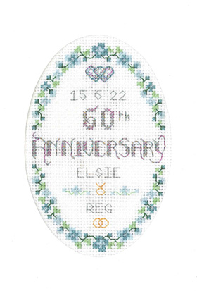 Floral 60th Anniversary card cross stitch kit