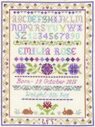 alphabet birth sampler cross stitch kit