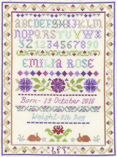alphabet birth sampler cross stitch kit