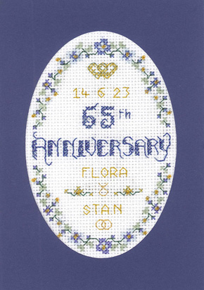 Floral 65th Anniversary Card cross stitch