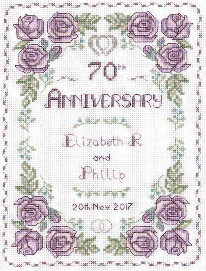 Rose 70th Anniversary sampler cross stitch