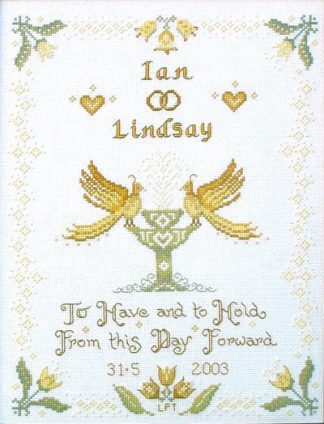 white wedding sampler cross stitch kit or chart