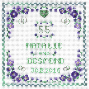 Heart Emerald Anniversary sampler cross stitch