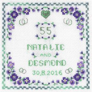 Heart Emerald Anniversary sampler cross stitch