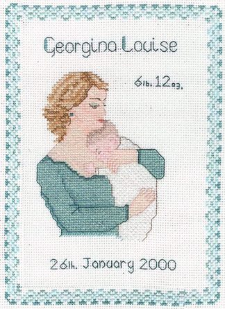 Mother and baby sampler cross stitch