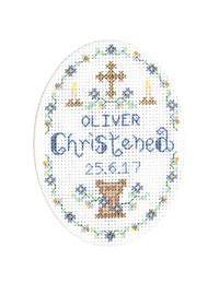 Blue Christening card cross stitch