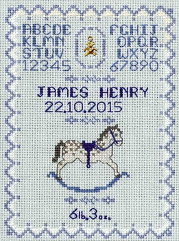 blue rocking horse birth sampler cross stitch