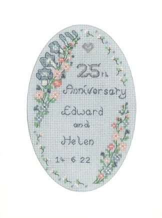 Garland Silver Anniversary card cross stitch