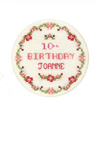 pink flowers birthday card cross stitch kit