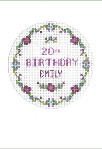 cross stitch plum flowers birthday card