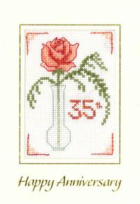 Rose Coral Anniversary card cross stitch kit