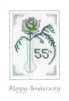 Rose Emerald Anniversary card cross stitch