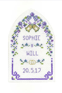 Purple Passion Arch Wedding card cross stitch kit