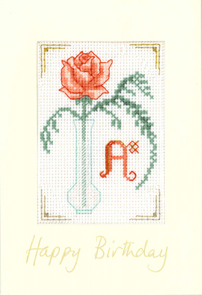 Coral Initial birthday card cross stitch