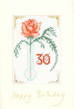 Coral Age birthday card cross stitch kit