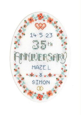 Coral Anniversary card cross stitch