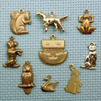 set of animal brass charms