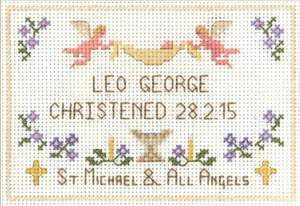 petite Christening sampler cross stitch kit