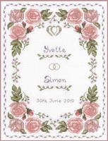 Roses dusky pink wedding sampler cross stitch
