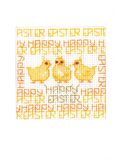 Happy Easter Chicks card cross stitch kit