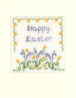 Flowers Happy Easter card cross stitch kit