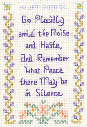 Go Placidly cross stitch