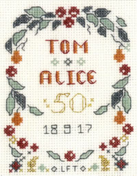 mini 50th Wedding Anniversary sampler cross stitch